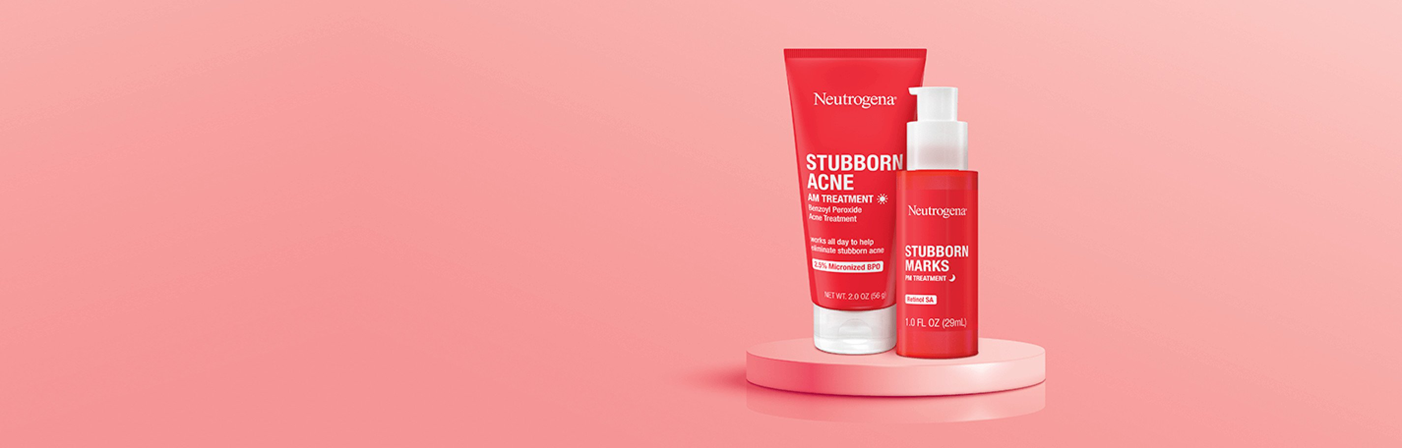 Stubborn Acne AM tube with Stubborn Marks PM bottle
