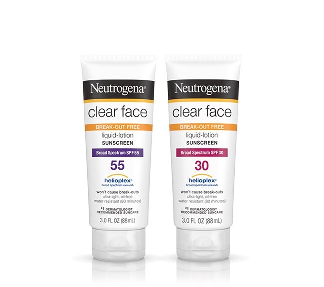 Clear Face Liquid-Lotion Sunscreens