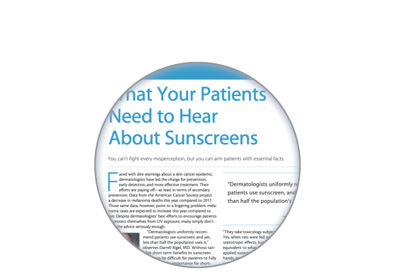 Image of the sunscreen patient facts article